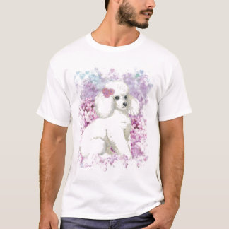 White Poodle Puppy Lilacs Tee Shirt
