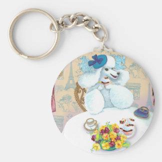 White Poodle Tea Party Basic Round Button Key Ring