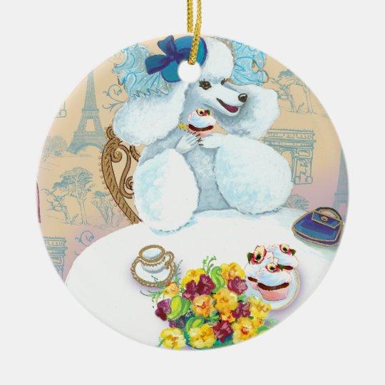 White Poodle Tea Party Christmas Ornament