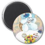 White Poodle Tea Party Fridge Magnet