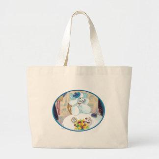 White Poodle Tea Party Jumbo Tote Bag
