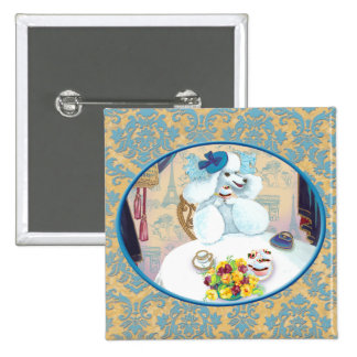 White Poodle Tea Party on Damask 15 Cm Square Badge