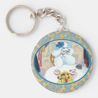 White Poodle Tea Party on Damask Basic Round Button Key Ring