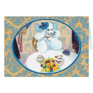 White Poodle Tea Party on Damask Greeting Card