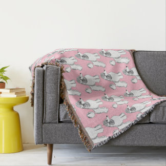 White Poodles Pattern Blush Pink Throw Blanket