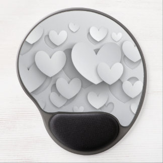 White Popup Hearts Gel Mousepad