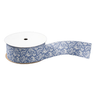 White & Powder Blue Floral Damask Pattern Grosgrain Ribbon