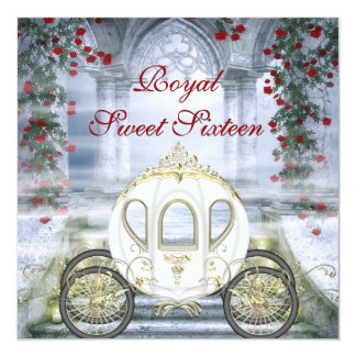 White Princess Carriage Enchanted Sweet 16 13 Cm X 13 Cm Square Invitation Card
