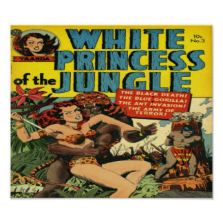 White Princess of the Jungle Comic Book Poster
