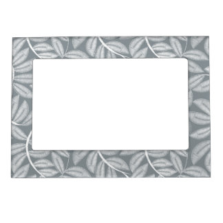 White printed embroidery leaves magnetic frame