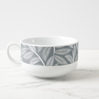 White printed embroidery leaves soup mug