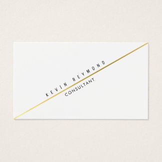 white pro business card with diagonal gold line