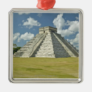White puffy clouds over the Mayan Pyramid Silver-Colored Square Decoration
