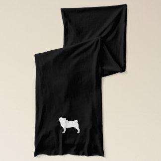 White Pug Silhouette Scarf