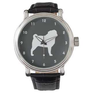 White Pug Silhouette Watch
