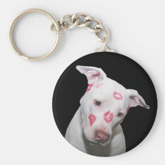 White Puppy Dog Love, Sealed with Lipstick Kisses Basic Round Button Key Ring