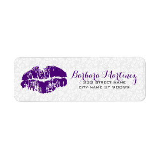 White & Purple Floral Damasks Makeup Artist Design Return Address Label