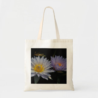 White & Purple Lotus Waterlilies tote bag