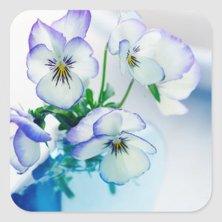 White Purple Pansies Flowers Blue Vase Floral Square Sticker