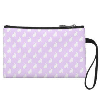White Purple Pastel Bunny Background Bunnies Wristlet