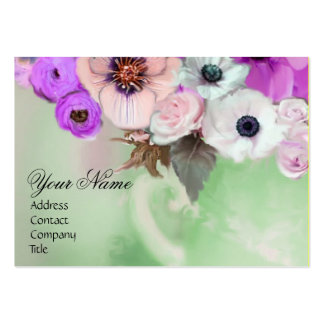 WHITE PURPLE ROSES AND ANEMONE FLOWERS MONOGRAM BUSINESS CARDS