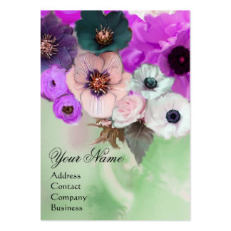 WHITE PURPLE ROSES AND ANEMONE FLOWERS MONOGRAM BUSINESS CARD TEMPLATES