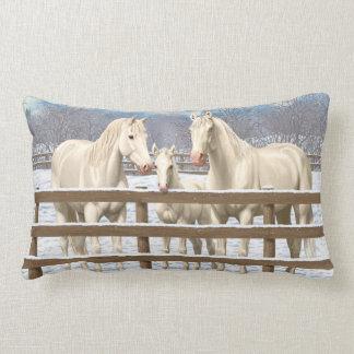 White Quarter Horses In Snow Lumbar Pillow