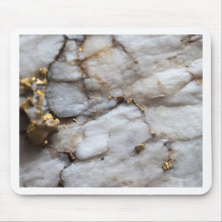 White Quartz with Gold Veining Mouse Pad
