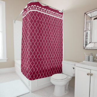 White Quatrefoil Pattern on Cranberry Red Shower Curtain