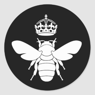 White Queen Bee Logo...Are You A Queen Bee? Round Sticker