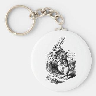 White Rabbit - Alice in Wonderland Basic Round Button Key Ring