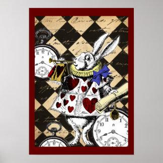 White Rabbit Alice in Wonderland Poster Print