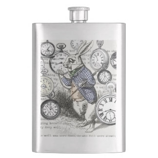 White Rabbit Alice in Wonderland Time Hip Flask