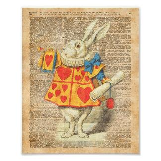 White Rabbit Alice in Wonderland Vintage Artwork Photo Art