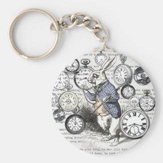 White Rabbit Alice Time Key Ring