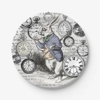 White Rabbit Alice Time Paper Plate