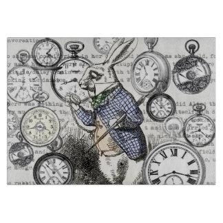 White Rabbit Alice Wonderland Clock Cutting Board