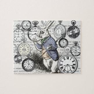 White Rabbit Alice Wonderland Clock Jigsaw Puzzle