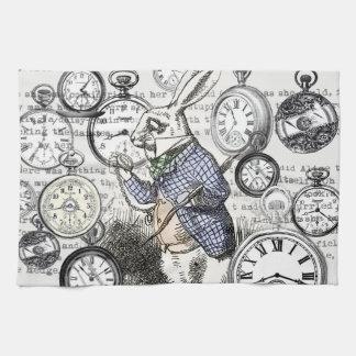 White Rabbit Alice Wonderland Clock Tea Towel