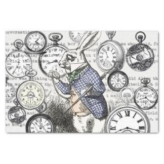 White Rabbit Alice Wonderland Clock Tissue Paper