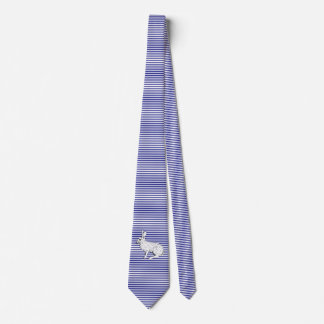 White Rabbit and Blue stripes pattern Tie
