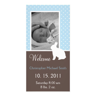 White Rabbit Baby Boy Birth Announcement Personalized Photo Card