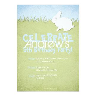 White Rabbit Boy's Birthday 13 Cm X 18 Cm Invitation Card