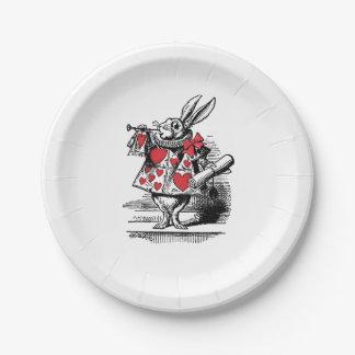 White Rabbit Court Trumpeter Alice in Wonderland Paper Plate
