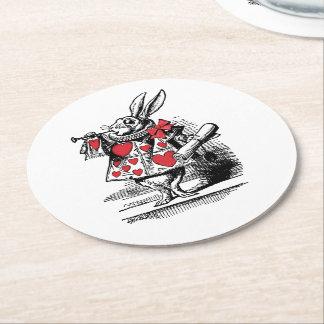 White Rabbit Court Trumpeter Alice in Wonderland Round Paper Coaster