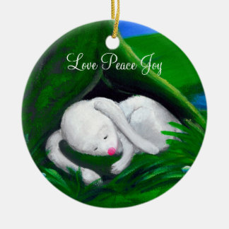 White Rabbit | Cute Personalizable Round Ceramic Decoration