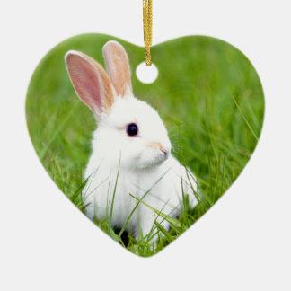 White Rabbit Double-Sided Heart Ceramic Christmas Ornament