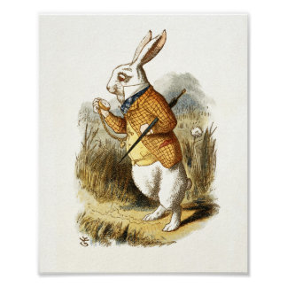 White Rabbit from Alice In Wonderland Vintage Art Poster