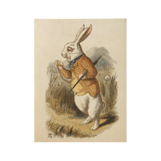 White Rabbit from Alice In Wonderland Vintage Art Wood Poster