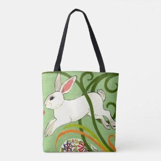 White Rabbit Green Art Deco Tote Purse Vines